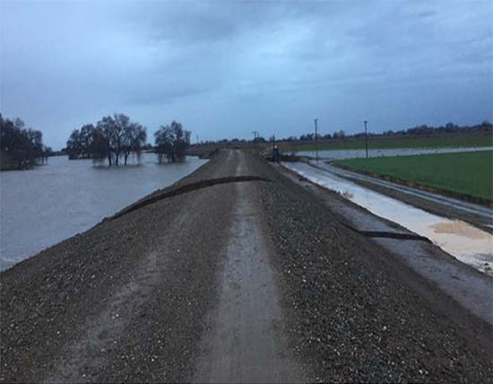 Levee Breach along the San Joaquin River. The breach resulted in the evacuation of 500 people in Manteca.